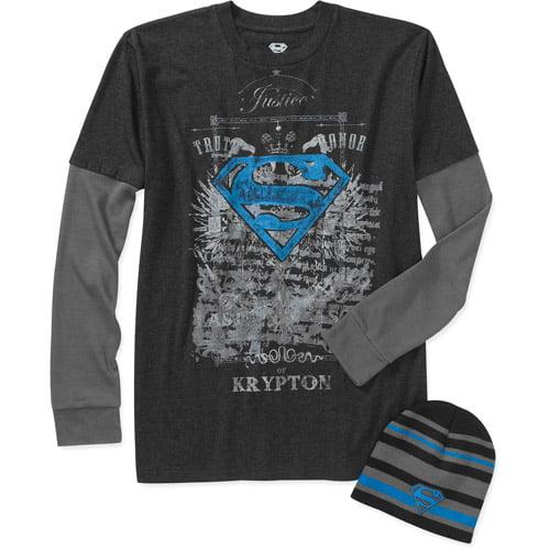 Superman Tatoo Men's Long Sleeve 3 Fer Tee Shirt