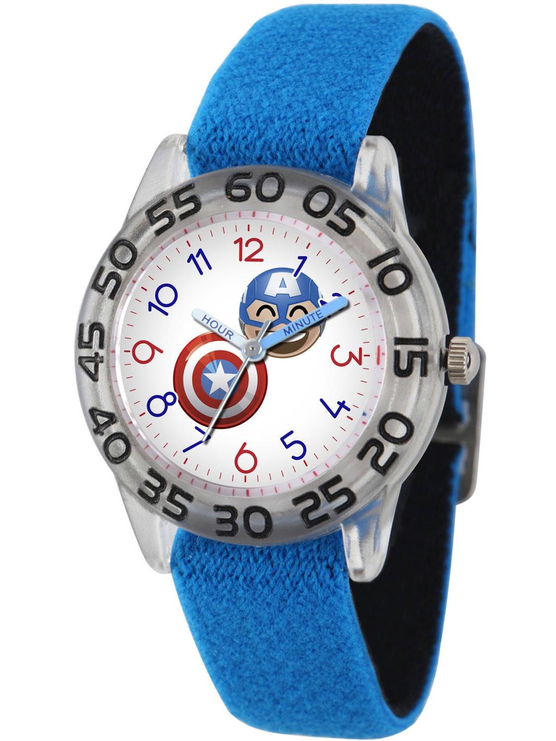 Marvel Emoji Kids' Captain America Clear Plastic Time Teacher Watch, Reversible Blue and Black Nylon Strap