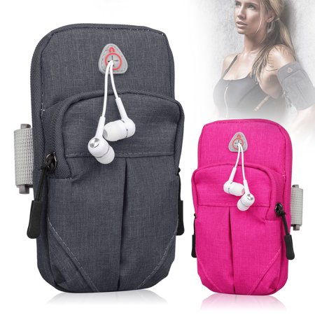 EEEKit Cell Phone Armband Large Capacity Double Zippers Jogging Gym Arm Band Pouch Holder Bag Case with Adjustable Belt & Earphone Hole For 5.1~6 inch Cell -