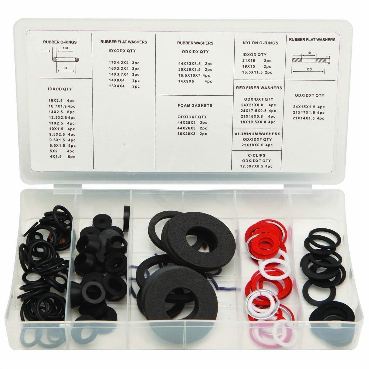 125 Pc Rubber O-ring Hose Gasket Flat Washer Faucet Gromet Assortment Set Kit, This Complete Assortment of Washers Is Designed For Reseating A Leaky Tap Or Faucet In The By Generic