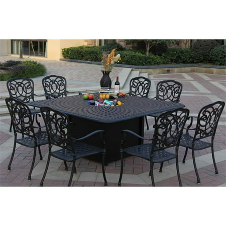 Darlee Florence 9 Piece 64 Square Propane Fire Pit Patio Dining Set