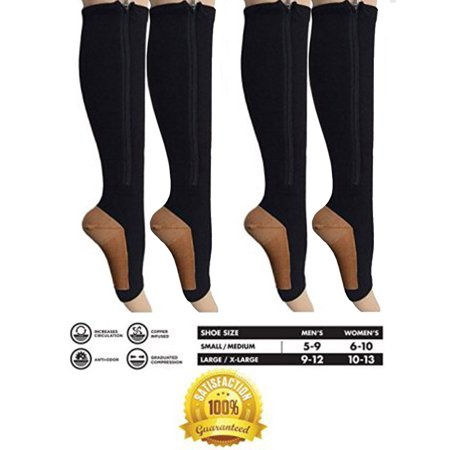2 Pair Black Copper Infused Compression Socks with Zipper 20-25 mmHg Open Toe for Women & Men FREE Eyeglass Pouch by Juniper's Secret (Eyeglasses First Pair Free)