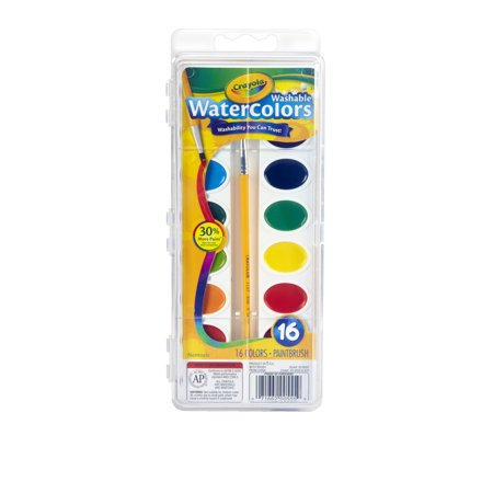 Washable Watercolor Paint - Crayola 16 count non-toxic washable semi-moist watercolor paint set in plastic pan (Pack of 3)