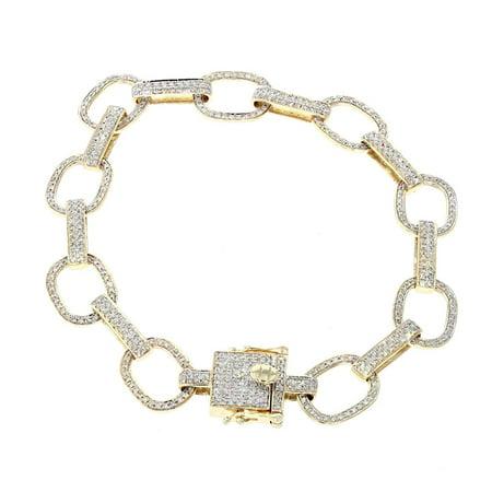 Midwest Jewellery 14K Gold Mens Diamond Bracelet Link Style Flat 2.3ctw 8 Inch Long with Box Clasp 10mm Wide Fancy Link Bracelet