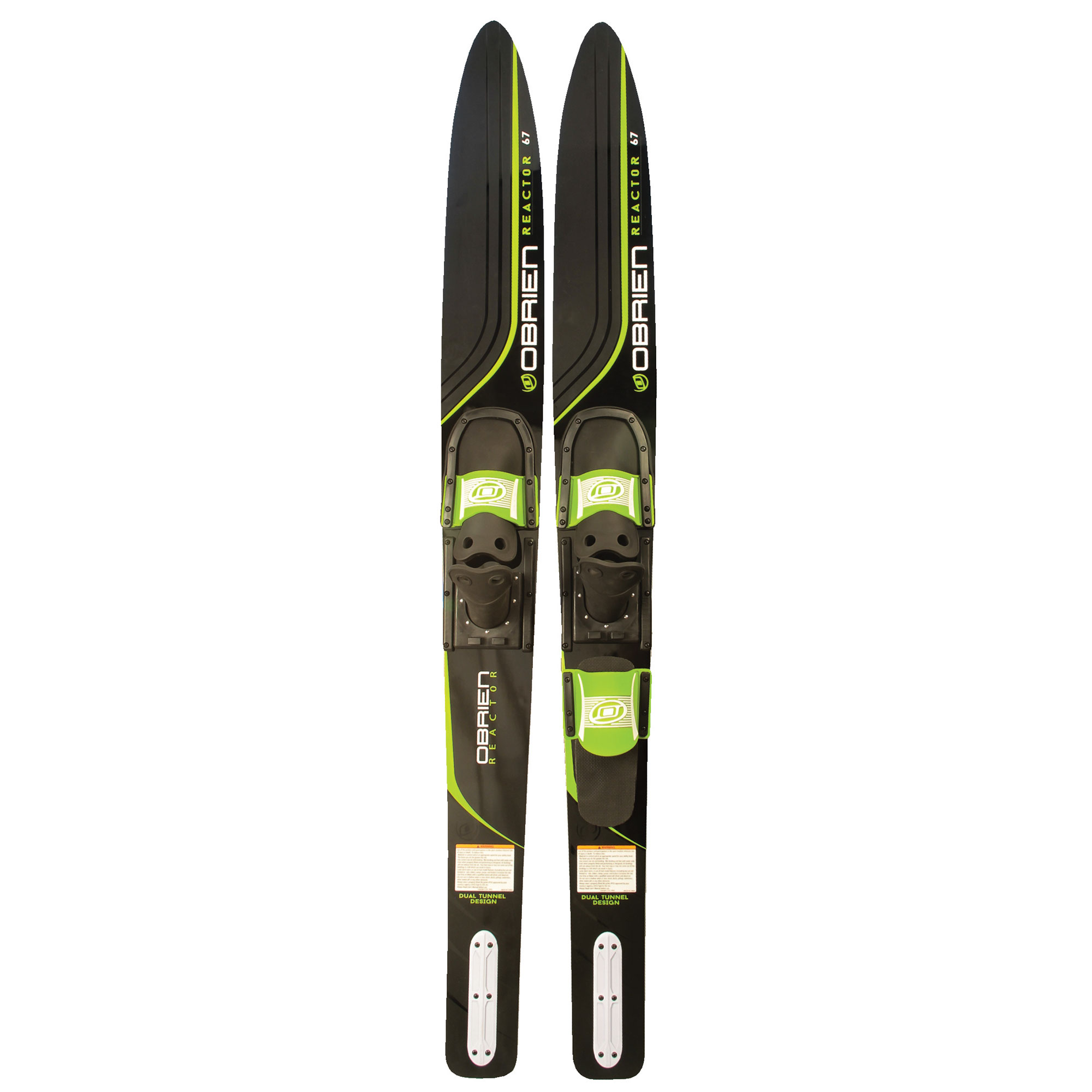 OBrien Reactor 67 Inch Combo Water Skis with 700 Adjustable Bindings, Green by O'Brien Watersports