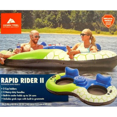 Ozark Trail Rapid Rider II Inflatable Float 2-Person Tube Island Raft River Sportsstuff Lake WLM8 800970