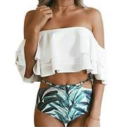 SAYFUT Women Two Piece Swimsuit Set Off Shoulder Ruffled Flounce Crop Bikini Top with Floral Print Cut Out Bottoms