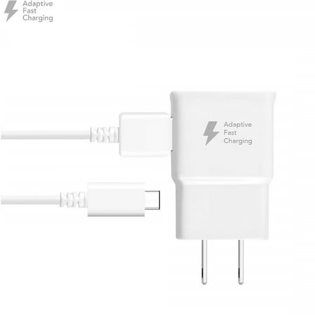 5 PACK - OEM Quick Fast Charger For Samsung Galaxy A8+ (2018) Cell Phones [Wall Charger + 4 FT USB C Cable] - AFC uses Dual voltages For up to 50% Faster Charging! - Bulk Packaging - White - image 1 of 9