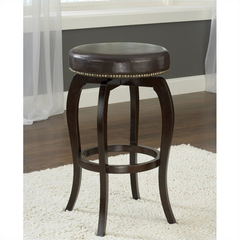"Hillsdale Furniture Wilmington Swivel Backless 31.4"" Bar Stool, Cappuccino Finish, Brown PU Seat"