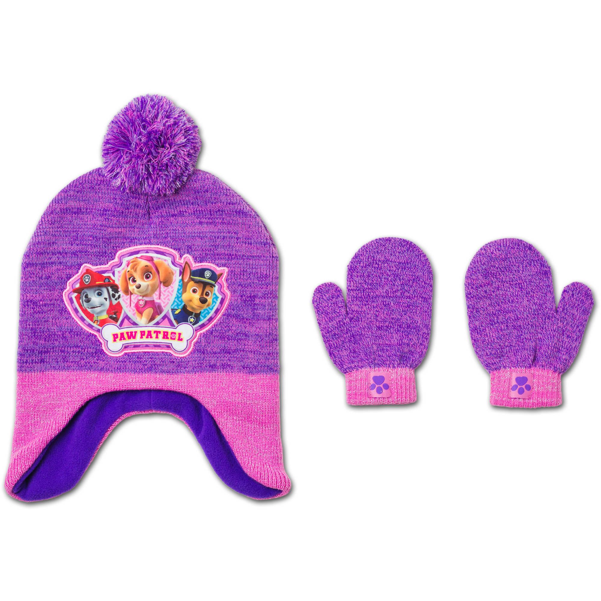 Nickelodeon Paw Patrol Baby Toddler Girl Hat and Mitten Set