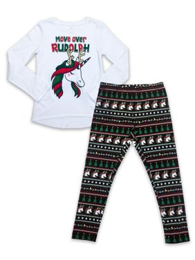 Holiday Christmas Long Sleeve High-Low Tee & Holiday Print Leggings, 2-Piece Outfit Set (Little Girls, Big Girls & Girls' Plus)