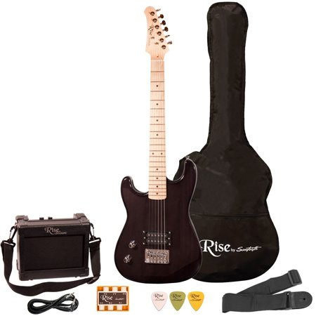 rise by sawtooth left handed 3 4 size beginner 39 s electric guitar with gig bag soft case amp. Black Bedroom Furniture Sets. Home Design Ideas