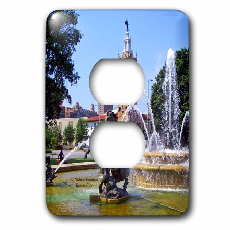3dRose Kansas City JC Nichols Fountain - 2 Plug Outlet Cover (Outlet Mall In Kansas)