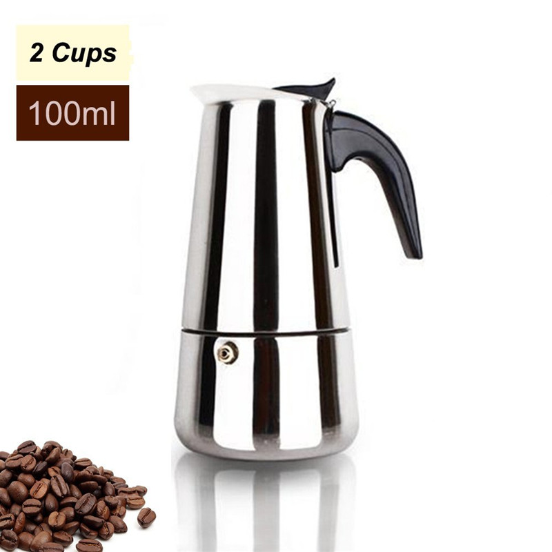 Qiilu Coffee Maker Pot Stainless Steel Moka Italian Espresso Latte Percolator Stove Top Coffee Maker Pot