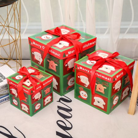 Christmas Eve Gift Box Xmas Present Wrapping Boxes Red Ribbon Lids A - Christmas Boxes