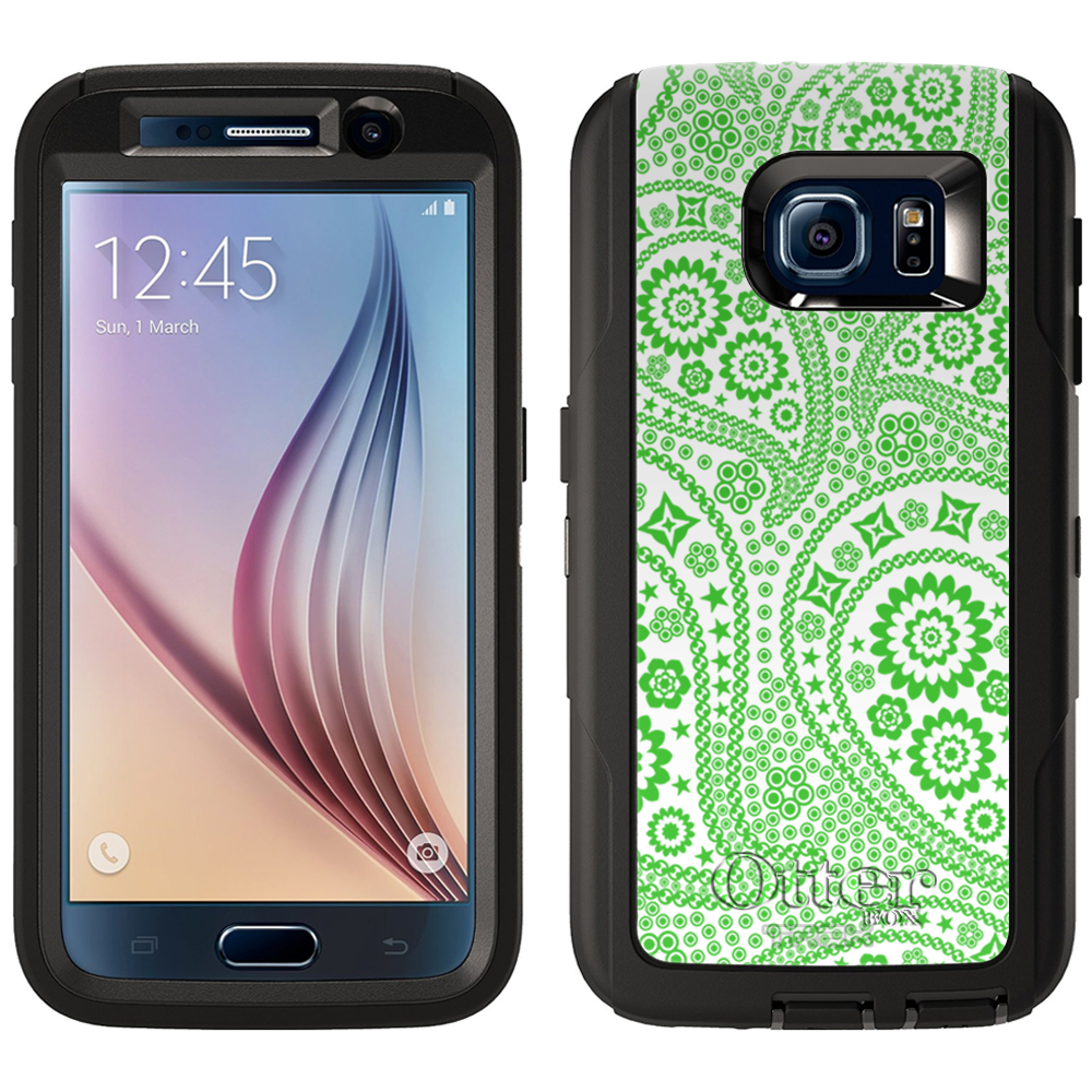 OtterBox Defender Samsung Galaxy S6 Case - Paisley Green and Flowers on White OtterBox Case