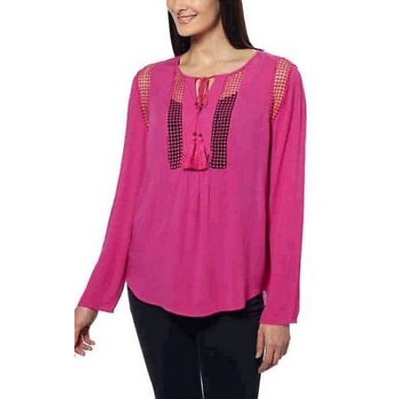 Joseph A Women's Crinkle Blouse Crochet Detail Loose Fit Top Shirt