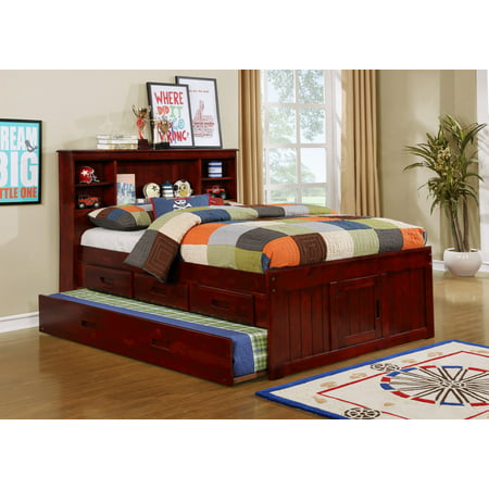 American Furniture Classics Solid Pine Full Captains Bookcase Bed with Twin Trundle and 3 drawers in Merlot