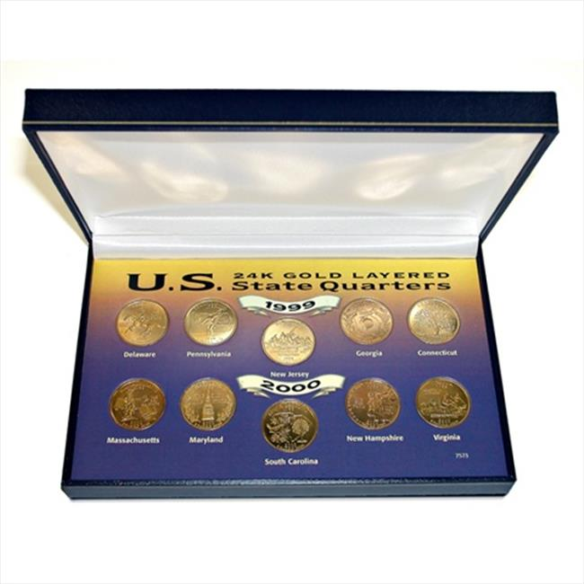 American Coin Treasures 7573 1999 and 2000 24kt Gold-Layered Statehood Quarter Collection