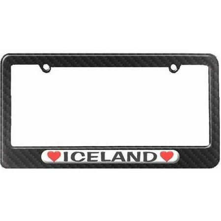Iceland Love with Hearts License Plate Tag Frame, Carbon Fiber Pattern (Icelandic License Plate)