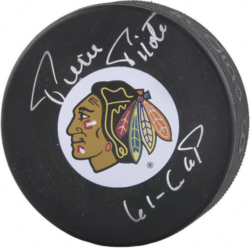 NHL - Pierre Pilote Autographed Puck with 61 Cup Inscription