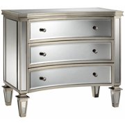 Bow-Front Mirrored Chest in Silver