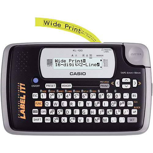 Casio KL-120 16-Digit LCD Display Label Printer