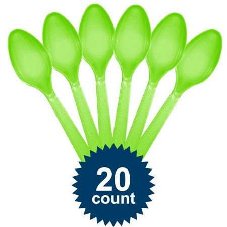 Amscan BB100025 Lime Plastic Spoons - Spoon Costume