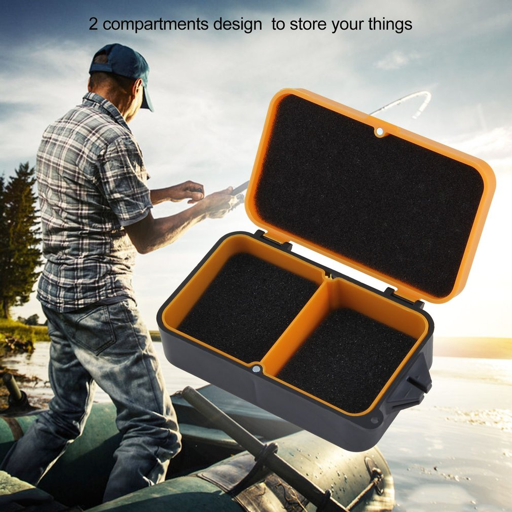 2 Compartment Fishing Tackle Box Fishing Accessory Case Lure Bait Storage Box by