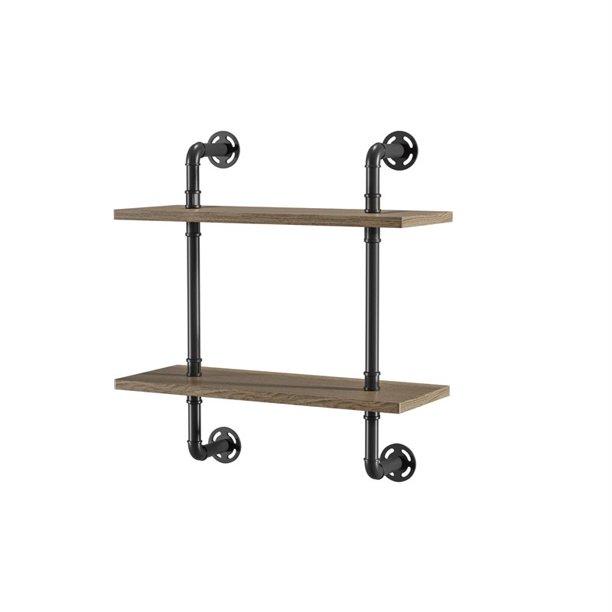 Furniture Of America Hollis Industrial Wood 2 Tier Wall Display Shelf In Natural Walmart Com Walmart Com