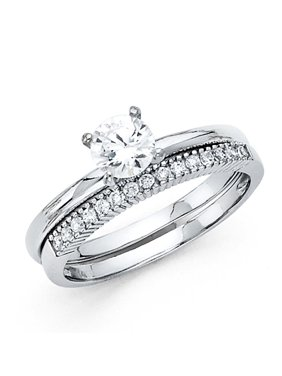 14K Solid White Gold 1.25 cttw Cubic Zirconia Engagement Ring and Matching Wedding Band, 2 Piece Set, Size 6