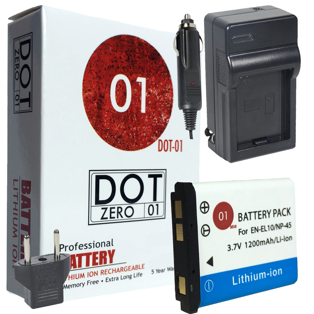 DOT-01 Brand 1200 mAh Replacement Fujifilm NP-45S Battery and Charger for Fujifilm T305 Digital Camera and Fujifilm NP45S