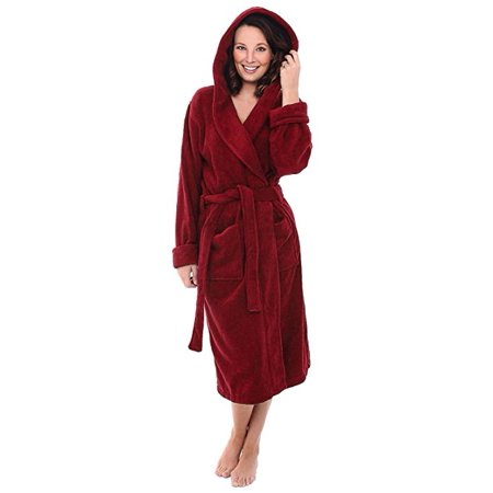 c139fac0c1 Spa   Resort - Heavy Womens 3.5lb Burgundy Hooded Terry Cloth Bathrobe. XXL  Full Length 100% Turkish Cotton - Walmart.com