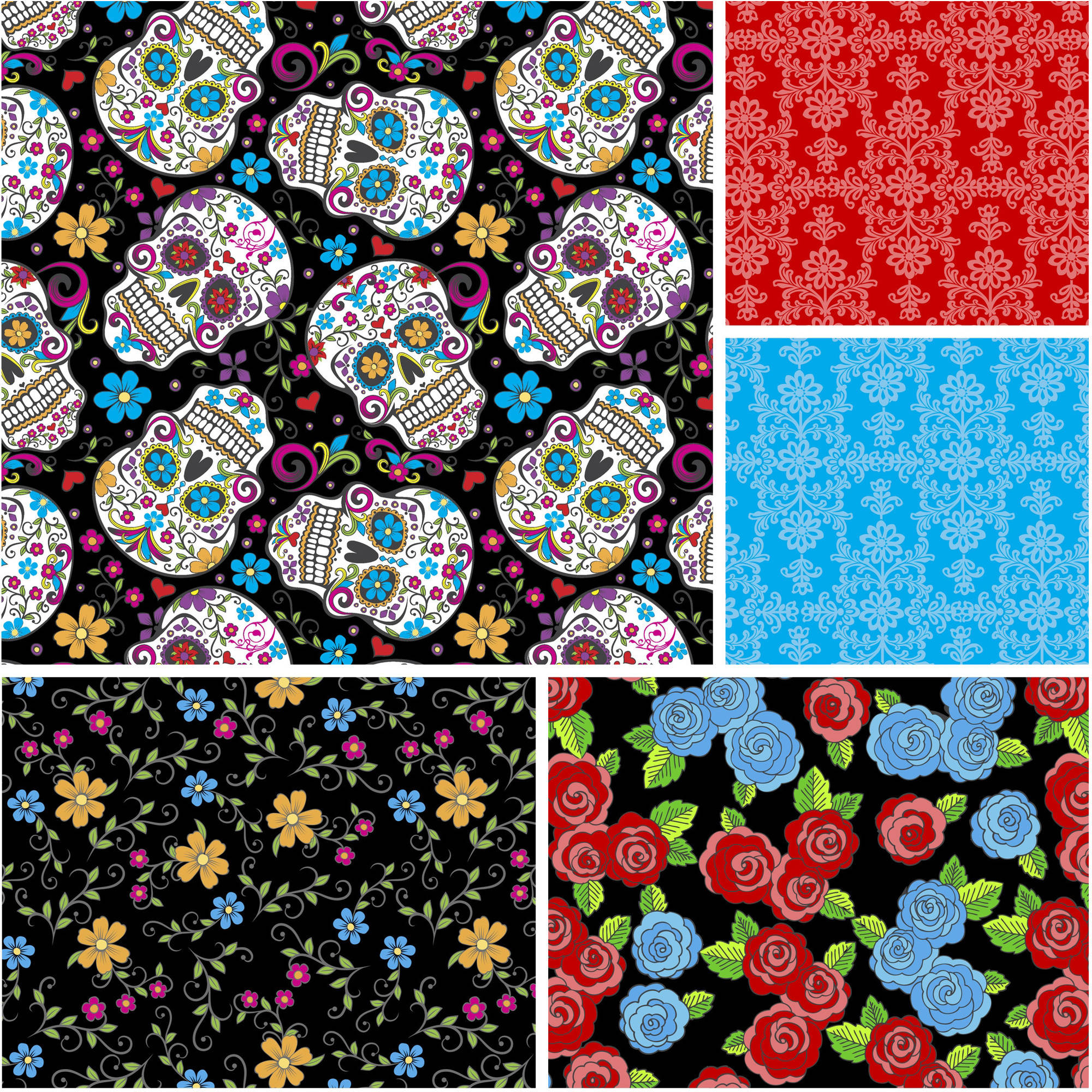 "David Textiles Folkloric Skulls Collection 44"" Quilting Cotton Fabric By The Yard"