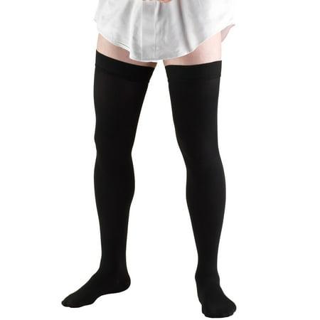 Truform Men's Thigh High Socks, Dress Style, 20-30 mmHg, Black, Large Men Thigh High