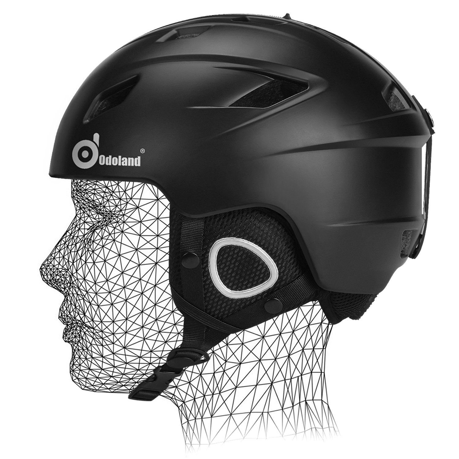 Odoland Unisex Ski Helmet for Adult Men Women Shockproof Ski Goggles Compatible Black by Odoland
