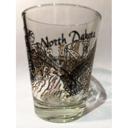 North Dakota Wilderness Eagle Wolf Deer Shot Glass