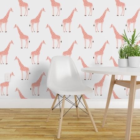 Peel and Stick Removable Wallpaper Blush Giraffe Baby Girl Nursery Ani