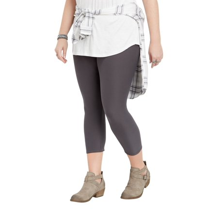 Soft Crop - Plus Size Gray Ultra Soft Crop Legging