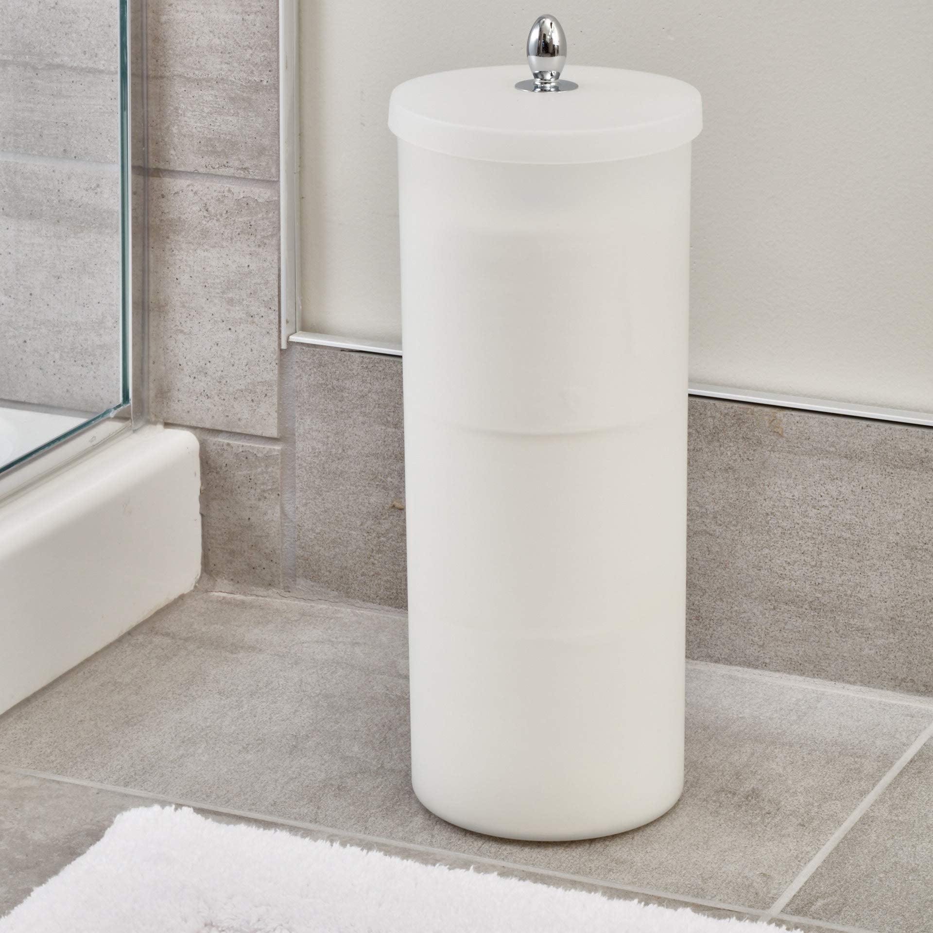 Orb Toilet Paper Holder Canister White//Chrome