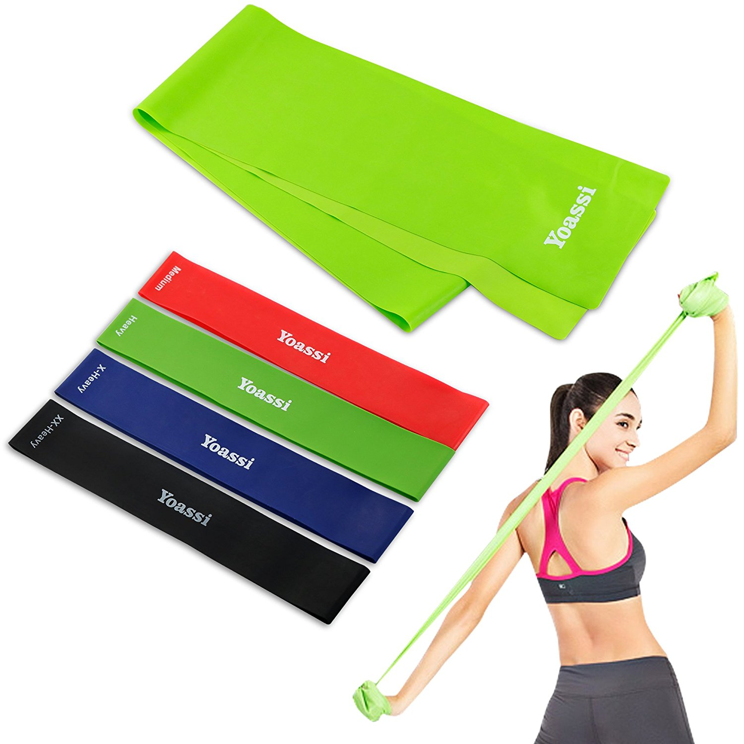 Yoassi Set of 5 Resistance Bands, Exercises Loop Resistant Stretch Bands for Workout, Stretching Training, Home Fitness, Core Strength, Yoga, Balance, Gym, Legs Butt Arms