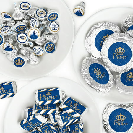 Royal Prince Charming - Mini Candy Bar Wrappers, Round Candy Stickers and Circle Stickers - Baby Shower or Birthday Party Candy Favor Sticker Kit - 304 Pieces ](Prince Themed Party)