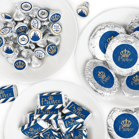 Royal Prince Charming - Mini Candy Bar Wrappers, Round Candy Stickers and Circle Stickers - Baby Shower or Birthday Party Candy Favor Sticker Kit - 304 - Custom Candy Bar Wrappers