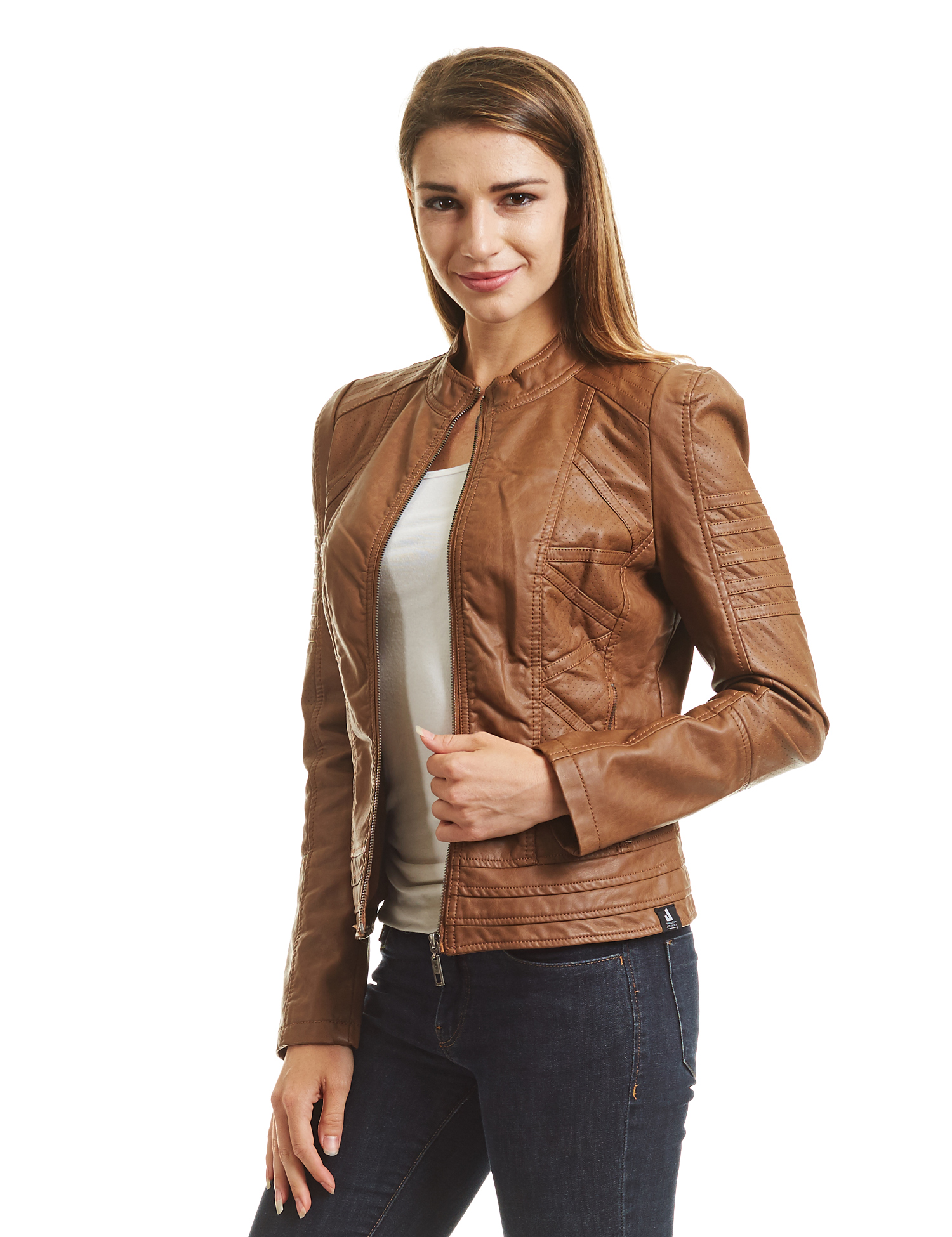 b483fb8775c Made by Johnny - WJC746 Womens Vegan Leather Motorcycle Jacket L CAMEL -  Walmart.com