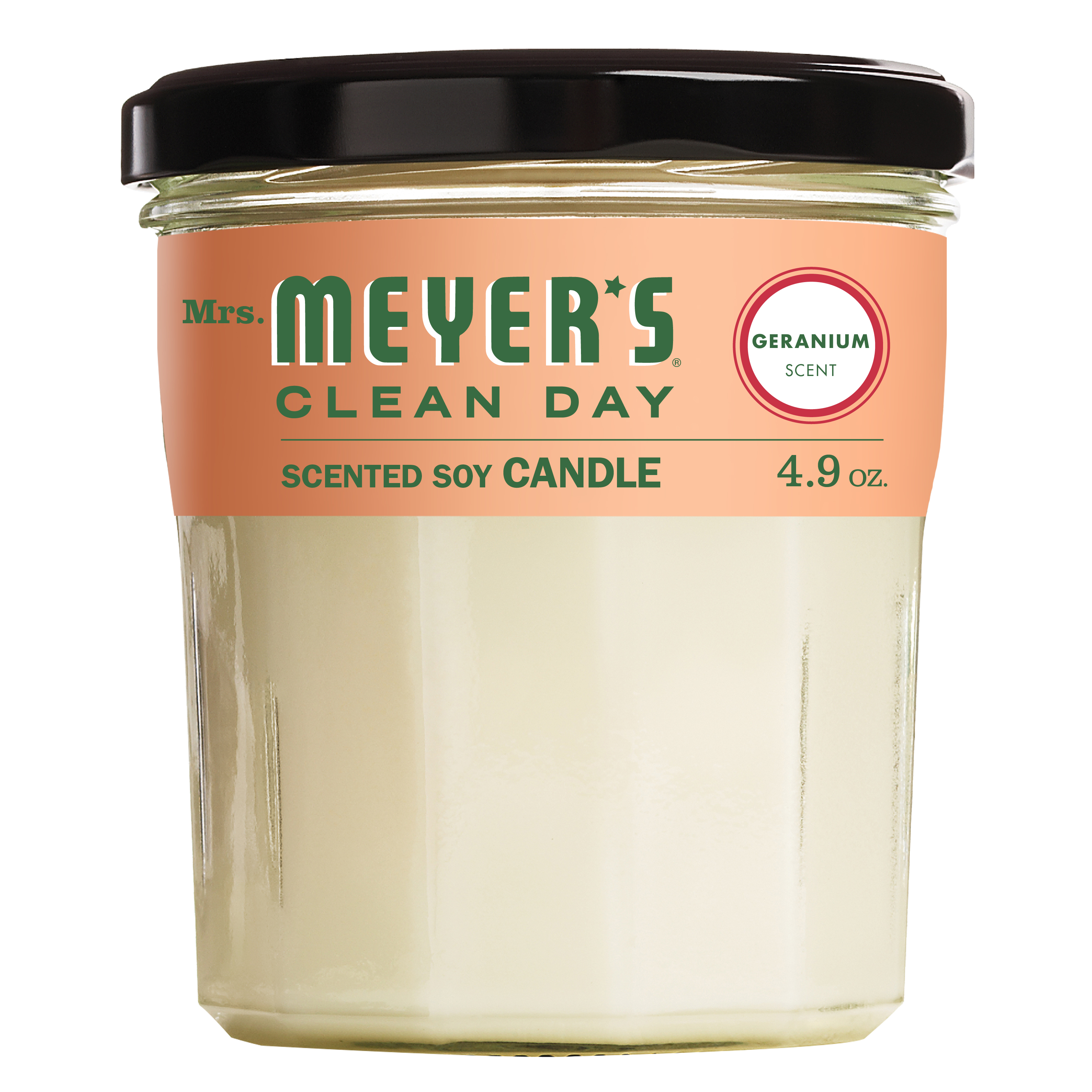 Mrs. Meyer's Clean Day Scented Soy Candle, Geranium, Candle, 4.9 ounce