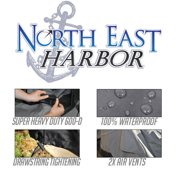 North East Harbor BBQ-S44-A 44 in. Premium Waterproof Barbeque Grill Cover, Dark Grey with Black Hem - Small - image 2 of 3