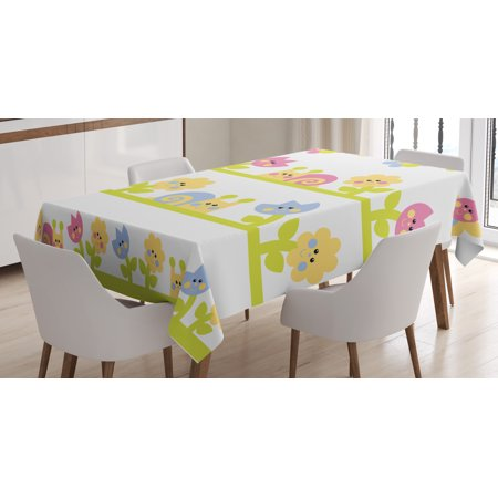 Kids Tablecloth Cartoon Character Bees Tulip And Daisy Flowers - Kids tulip table