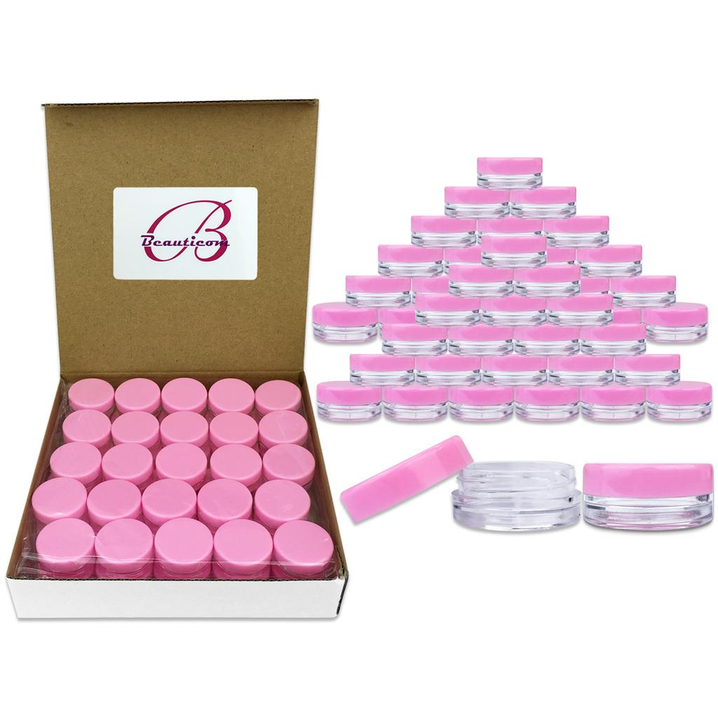 Beauticom 50 Pieces High Quality 3 Gram 3 ml (0.1 oz) Plastic Round Cosmetic Beauty Makeup Sample Jars with Black Lids