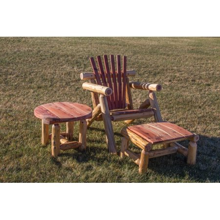 Furniture Barn USA™ Red Cedar Log Adirondack Chair Set with Ottoman and  Side Table