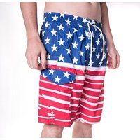 3d2646fe7b08 Product Image North 15 Men s USA American Flag Swim Trunk Boardshorts with  Cargo Pokcet